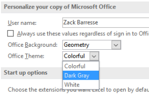 Office2016 theme choice