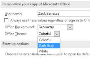 Office2016 theme choice